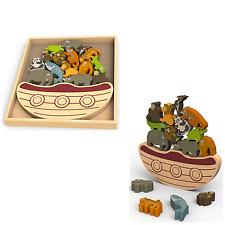 Iniziare di nuovo saldo di legno colorato BARCA CON ANIMALI A RISCHIO ESTINZIONE gioco 3+ anni