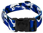 Country Brook Petz® 1 1/2 Inch Deluxe Royal Blue and White Camo Dog Collar