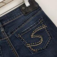 Silver Aiko Mid Rise Slim Boot Cut Women's Dark Wash Blue Jeans Sz 26 x 33