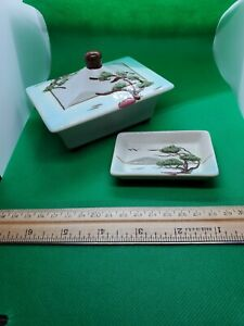 Weil Ware California Ming Tree covered trinket box matching plate 944, 945