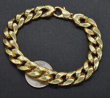 """9"""" Italian Miami Cuban Bracelet 14K Yellow Gold Clad Sterling Silver 925"""
