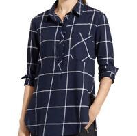 Athleta Presidio Windowpane Plaid Popover Tunic Shirt Women's Size Medium M
