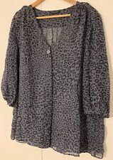 Ladies Planet Leopard Print Silk Blouse - Size 18