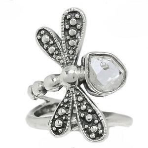 Dragonfly - Herkimer Diamond - USA 925 Silver Ring Jewelry s.7.5 BR101585