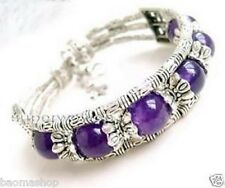 The beautiful pure handmade the Tibet silver purple jade bracelet