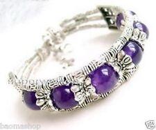 The beautiful pure handmade the Tibet silver purple jade bracelet