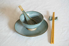 5 Pieces Japanese Dining Set - Green and Gold