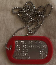 Medical Alert CUSTOM EMBOSSED STAINLESS STEEL DOG TAG ID TAG NECKLACE USA MADE