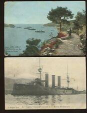 British Navy Hms Suffolk 1908 francés PPC Cannes X2