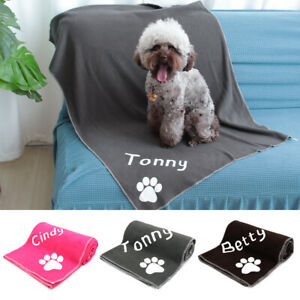 Personalized Paw Print Soft Warm Fleece Pet Blanket Dog Cat Mat Puppy Bed Sofa