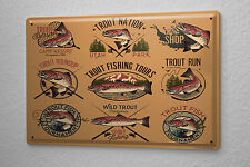 Tin Sign Pisces Angel Trout Fisherman'S House Vintage