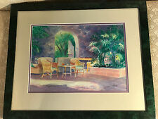 "Nice ""Outdoor Patio Scene"" Watercolor Painting - Signed And Framed"