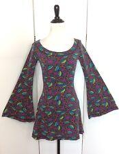 Betsey Johnson Women's Medium Vintage Stretchy Bell Sleeve Mini Tunic Dress USA
