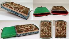 RARE Fine Antique Chinese Silk Metallic Raised Embroidered Case Box Pouch Dragon