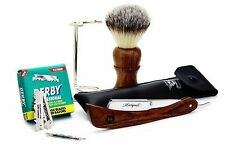 4 PIECE SHAVING SET.WOODEN HANDLE BRUSH & RAZOR,STAINLESS STEAL STAND+100 BLADES