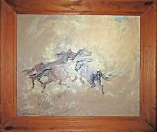 Large Vintage Original Oil Painting - Wild Horses by Wanda de Turczynowicz