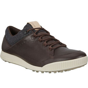 ECCO Mens Street Retro Leather Golf Water Repellent Trainers Sneakers Shoes