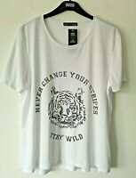 LADIES M&S STAY WILD SIZE 18 WHITE SUPER SOFT STRETCH TOP T SHIRT FREE POST