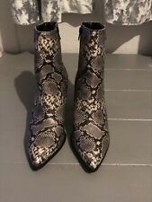 Faith Black And Grey Snake Print Heeled Ankle Boots Uk 8
