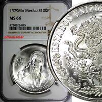Mexico ESTADOS UNIDOS MEXICANOS Silver 1979 Mo 100 Pesos NGC MS66 GEM KM# 483.2