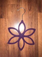 Purple Velvet Flower Scarf Wrap Hanger Holder Hanging Hook Compact 6 Slots
