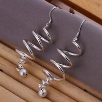 ASAMO Damen Ohrhänger Spirale Ohrringe 925 Sterling Silber plattiert O1215