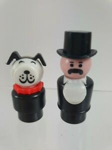 Vintage Fisher Price Little People Lucky dog & circus ringleader  figures