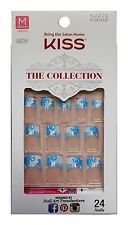 KISS* 24 Glue-On Nails WHITE+BLUE FLOWER TIPS The Collection MEDIUM #62271 1d