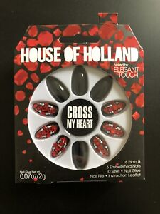 House Of Holland Cross My Heart Long Embellished Jewelled Adhesive False Nails