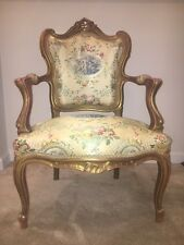 Vintage French Provincial Rococo Louis XVI Gold Gilt Chair (Maroon Back)