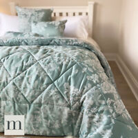 Luxury Aqua Blue Floral Quilted 6pc Set Double/King Bedspread Throw Cushions