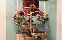 VTG Tole Wall Sconce Candle Italian Gold Gilt 1-Arm French Farmhouse Shabby Rose