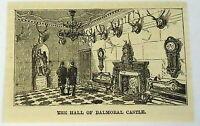 small 1883 magazine engraving ~ HALL OF BALMORAL CASTLE, Scotland