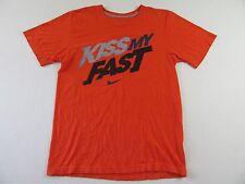 NIKE Kiss My Fast!! Graffiti Logo SS Orange T Shirt Size S