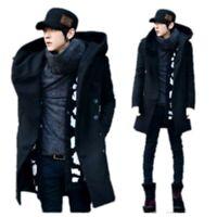 Korean Fashion Mens Hooded Winter Warm Parka Coat  Long Double Breasted Jacket