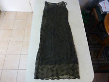 Women's OJAY Size 10 Long Lace Dress Brown Floral Black Under Dress Ladies
