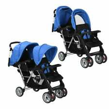 vidaXL Dubbele Kinderwagen Staal Blauw en Zwart Wandelwagen Buggy Zwarte Blauwe