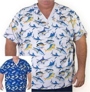 NWT Plus Size 1X to 5X Uniform Scrubs Top Blue White Marlin Dolphin Fish Unisex