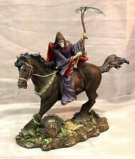 New Grim Reaper Santa Muerte Saint Death Riding a Black Horse Statue 73863AA