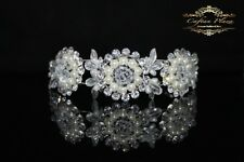 Tiara L Diadem Krone Strass Perlen Kristall Brautschmuck Hochzeit Silber elegant