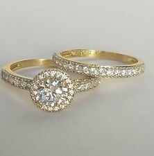 1.7 C 14k yellow Gold 2 piece halo round Engagement Wedding Ring band Set  s 7