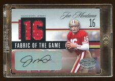 JOE MONTANA 2006 CERTIFIED AUTO #D 01/16 DUAL GAME JERSEY FABRIC OF THE GAME HOF