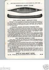 1915 PAPER AD Robinson Model Gold Arrow Brand Mohogany Wood Wooden Canoe