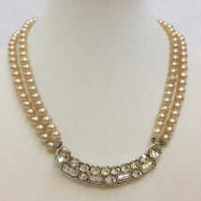 Necklace Rhinestone Bar Double Faux Pearl Strand String Vintage Choker Collar
