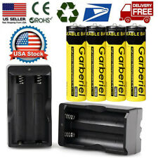 4pc BRC 18650 Battery Li-ion 3.7V Rechargeable Batteries +2x Charger for Torch