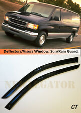 For Ford Econoline 1992-2013, Windows Visors Deflector Sun Rain Guard Vent