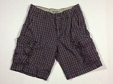 Men's American Eagle Outfitters Cargo Shorts Size 32 Red Plaid Classic Length