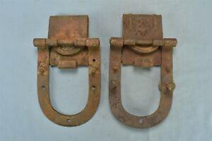 Antique PAIR of BIG 4 BARN DOOR ROLLER HINGES PRIMITIVE HOMESTEAD RANCH #01499