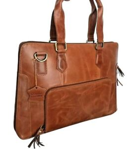 Mens Leather Messenger Bag Brown Tan Laptop Minimalist Briefcase 13 Inch Real