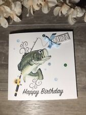 Mens Fishing birthday card-personalised & handmade for Dad/ brother/uncle/cousin